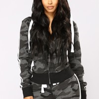 Camo Inside With Me Jacket - Charcoal
