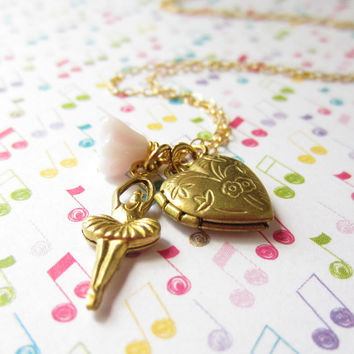 Tiny gold ballerina and heart locket necklace with flower accent