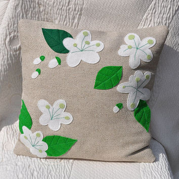 Decorative pillow, Flowers of apple trees, springs, flowers, living room, cushion cover, bedroom decor, application, natural beige linen.