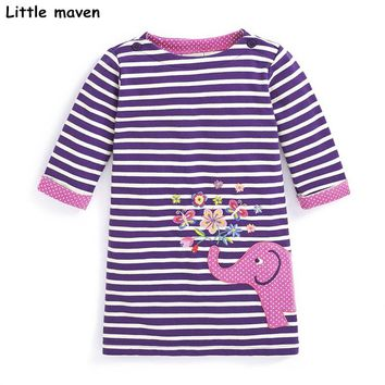Little maven kids dresses for girls autumn baby girls clothes Cotton striped elephant embroidered straight dress S0277