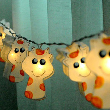 20 x handmade white giraffe animal cartoon cute lantern string light paper hand draw paint art bedroom decoration kid room nursery light
