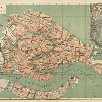 Antique Map of Venice, Italy (c1886)  - Archival Reproduction