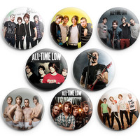 All Time Low Pinback Buttons Badge 1.25 inch (Set of 8) NEW
