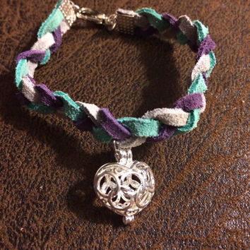 Adult Braided Leather Essential Oil Diffuser Bracelet in Turquoise, Gray and Purple with Heart Pendant~Adult Diffuser~Women's Diffuser