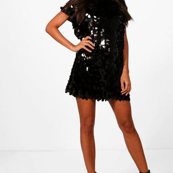 Boutique Lucy Disc Sequin Cap Sleeve Shift Dress | Boohoo