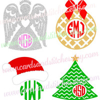 Christmas Monogram Decal or Iron-on Transfer (Glitter or Mat) for Shirts and More - Bumper Stickers - Computer Decal
