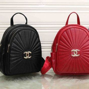 ONETOW Chanel' Women Casual Simple All-match Fashion Quilted Letter Logo Double Shoulder Bag Small Backpack