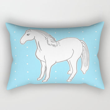 White Horse with Light Blue & Polka Dots Rectangular Pillow by Artist Abigail