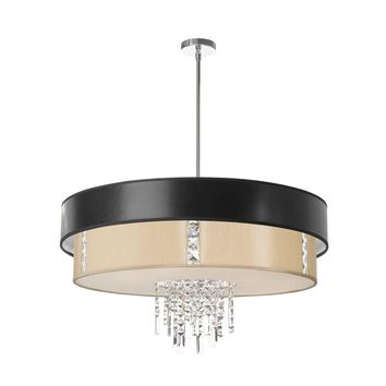 Dainolite 4 Light Polished Chrome Crystal Pendant with Cream/Black/White Shade with 770 Diffuser