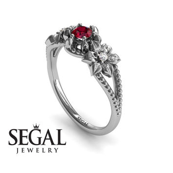 Unique Engagement Ring 14K White Gold Flowers Art Deco Filigree Ring Ruby With White diamond - Kennedy