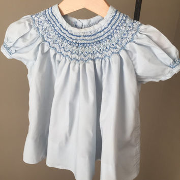 Blue Toddler's Dress/ Smocked Dress/