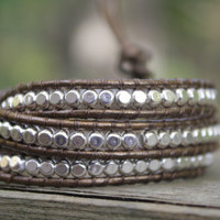 Sterling Silver Triple Beaded  Metallic Brown Leather  Bracelet, Brown and Silver, Chan Luu Style