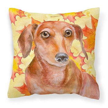 Red Dachshund Fall Fabric Decorative Pillow BB9968PW1818