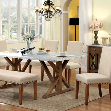 Furniture of america CM3533T-6PC 6 pc armous i natural tone finish wood and galvanized metal top dining table set