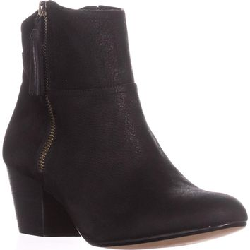 Nine West Hannigan Fringe Tassel Block Heel Ankle Boots, Black, 10 US