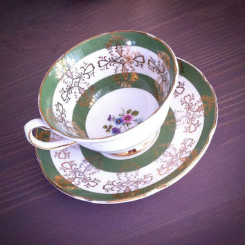 Antique Royal Grafton floral tea cup and saucer, green and gold tea set, English bone china teacup
