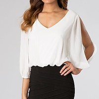 Black and White Short Dress with Open Shoulders by Bee Darlin