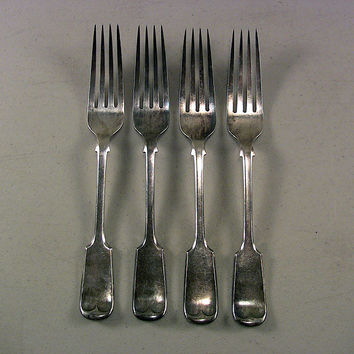 SOLD!  4 19th C Antique Coin or Plate Silver Forks Nowill D * B Fiddle 259g