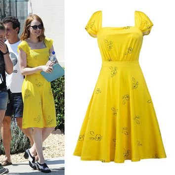 2017 New La La Land Dress Mia Emma cosplay costume Stone Summer Yellow Floral Skater Dress Vestidos for adults