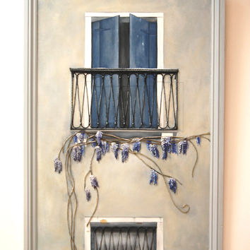 French Balcony Painting with Wisteria - String Art Mixed Media Original in Blue, Gray & Lilac