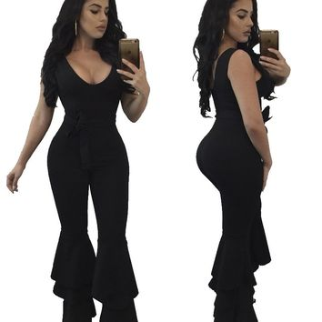 Black Clubbing Jumpsuit with Ruffle Leggings