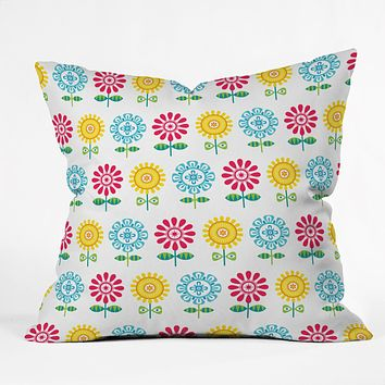 Andi Bird Pt Reyes Flowers Throw Pillow