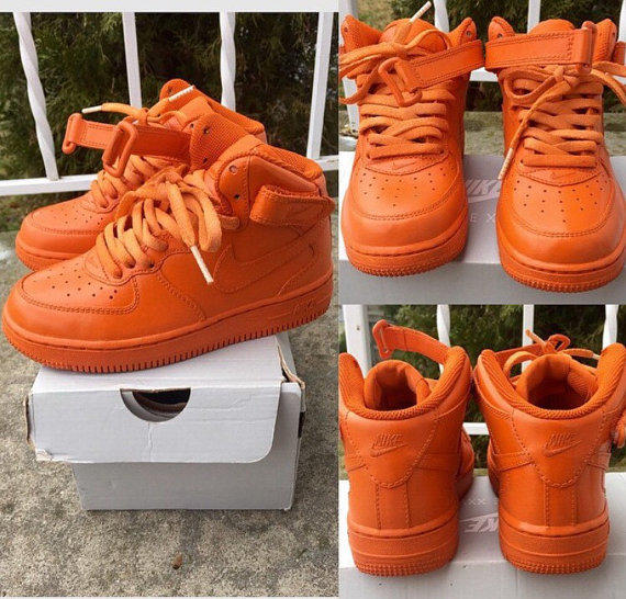 Orange Nike Air Force Ones Customs from TheLittleFoot on Etsy 4e90c7724