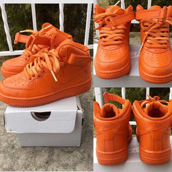 Orange Nike Air Force Ones Customs from TheLittleFoot on Etsy 41f4c29b9