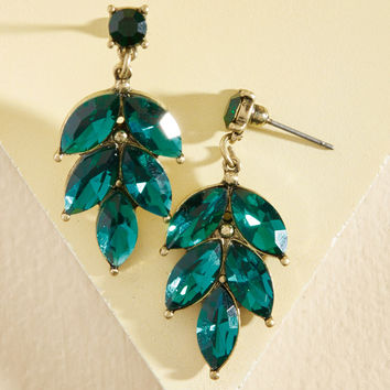 Editor in Leaf Earrings in Teal | Mod Retro Vintage Earrings | ModCloth.com