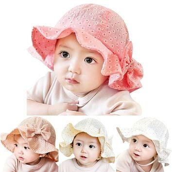 Baby Hats Sun Caps Summer Toddler Infant Bowknot Floral Printed Outdoor Caps Baby Girls Hats Beach Bucket Sunsahde Hat for 6-24M