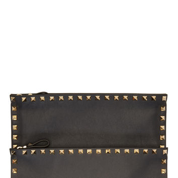 Valentino Grey Leather Rockstud Envelope Clutch