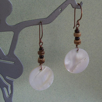 Adrift - Wood Beads And Mother Of Pearl Copper Earrings