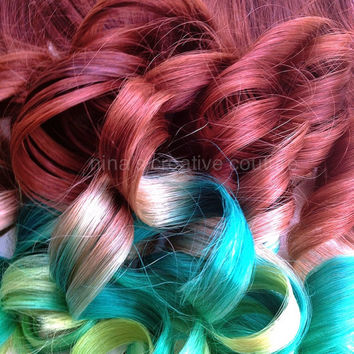 "Auburn Ombre Hair Extensions, Key Lime Pie, Green With Envy,7 Pieces 22"",100 Grams/Customize your Base"