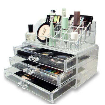 Acrylic Jewelry & Cosmetic Storage Display Boxes Two Pieces Set Gift