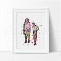 Han Solo Chewbaca Watercolor Art Print