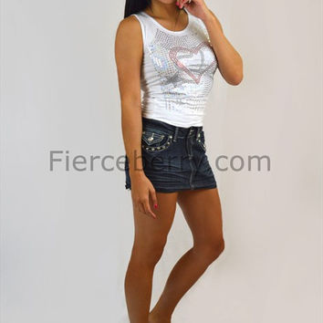 Denim Mini Skirt with Fleur De Lis Stitched Pocket