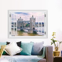 Scenery View London Tower Bridge Wall Sticker Living Room Bedroom Sofa Restaurant Decor 3D Window Wall Decals Mural Poster
