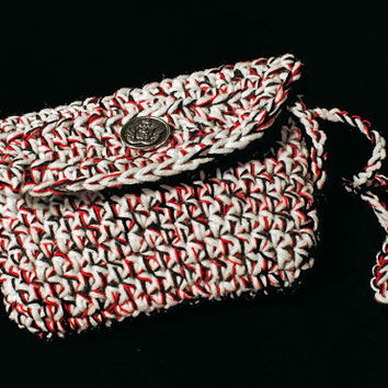 Crochet Purse, Handmade, Cell Phone cover, White, Red, & Black, Patti's Original Collection