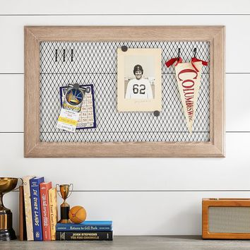 Framed Magnet Board With Hooks
