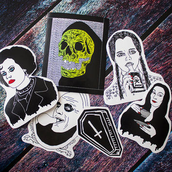 Goth Sticker Pack / The Addams Family Wednesday Morticia Uncle Fester Skull Coffin Horror Gift Halloween Funny Witch