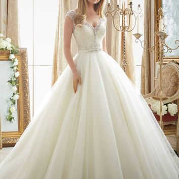 Mori Lee 2875 Beaded Cap Sleeve Ball Gown Wedding Dress
