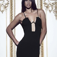 Missguided - Peace + Love Boned Cup Bodycon Dress Black