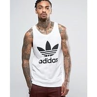 Adidas Clover Summer Men Quick Dry Breathable Tight Sports Vest Top White