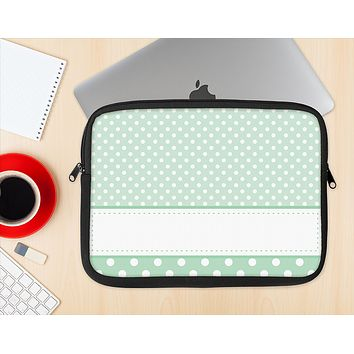 The Vintage Light Green Polka Dot With White Strip copy Ink-Fuzed NeoPrene MacBook Laptop Sleeve