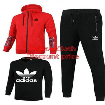 Adidas Jacket Sweater New Style Fashion Trend Three-Piece Suit For Women 18928 M-3XL Red Black