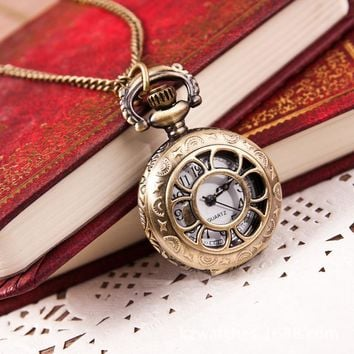 Reloj de bolsillo Paradise Hot New Hot Hot Fashion Retro Bronze Quartz Pocket Watch Pendant Chain Necklace wholesale May20