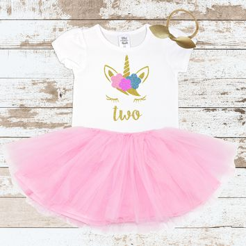 Gold Two Unicorn Face Pink Tutu Outfit