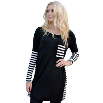 Camisetas Mujer  Fashion Women Patchwork Striped Pocket  Long Sleeve T-Shirt Tops For Women Casual Tee Shirt Femme #WY GS