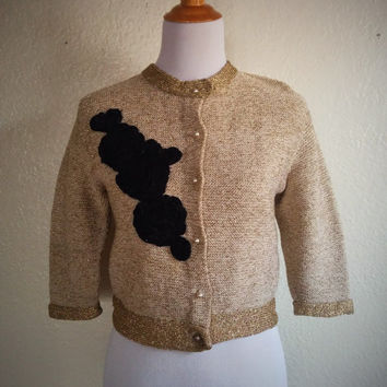 Vintage 50's Gold Cardigan Sweater with Black Rose Applique