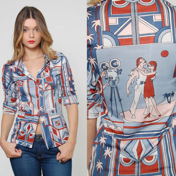 Vintage 70s Button Down Shirt Blue Art Deco OLD HOLLWOOD Movie Set Print GRAPHIC Long Sleeve Collared Novelty Skinny Top